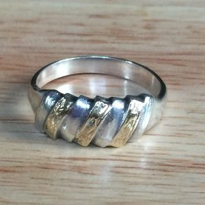 Jewelry - Sterling Silver Gold Twisted Carved Rope Ring
